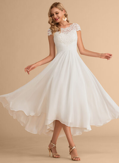 [Free Shipping]A-Line Scoop Neck Asymmetrical Chiffon Wedding Dress