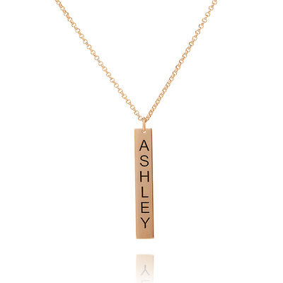 Christmas Gifts For Her - Custom 18k Rose Gold Plated Silver Bar Engraving/Engraved Name Necklace