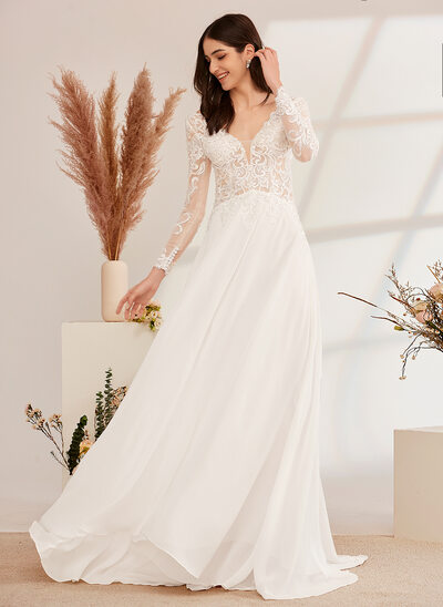 [Free Shipping]A-Line V-neck Sweep Train Wedding Dress With Beading