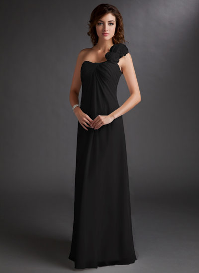 Chiffon One-shoulder Floor-length Empire Bridesmaid Dress