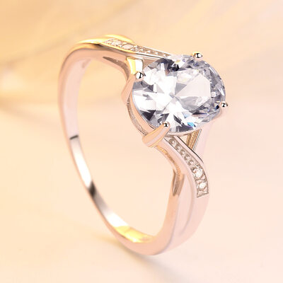 925 Sterling Silver With Oval Cubic Zirconia Rings/Engagement Rings/Promise Rings For Bride
