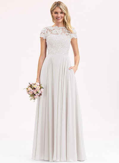 A-Line Scoop Neck Floor-Length Chiffon Lace Bridesmaid Dress With Pockets