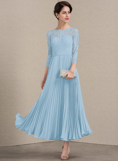A-Line Scoop Neck Ankle-Length Chiffon Lace Mother of the Bride Dress With Pleated