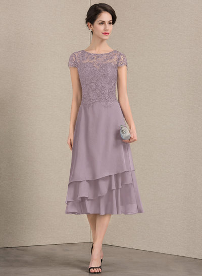 A-Line/Princess Scoop Neck Tea-Length Chiffon Lace Mother of the Bride Dress