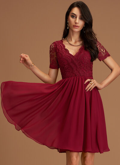 A-Line V-neck Knee-Length Chiffon Bridesmaid Dress With Lace