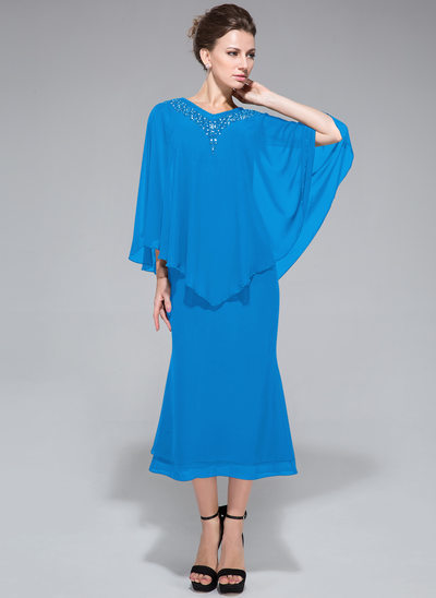 Trumpet/Mermaid V-neck Tea-Length Chiffon Mother of the Bride Dress With Beading Sequins