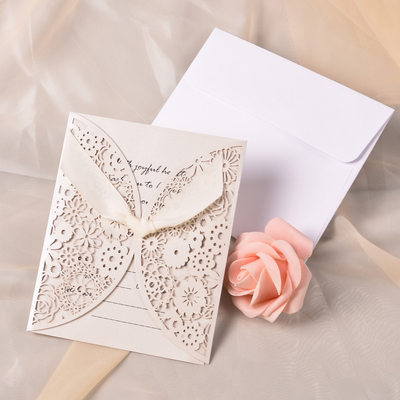 Classic Style Gate-Fold Invitation Cards With Ribbons (Set of 10)