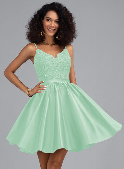 A-Line V-neck Short/Mini Satin Prom Dresses With Beading Sequins