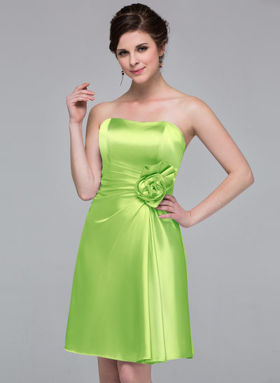 Sheath Column Sweetheart Knee Length Charmeuse Bridesmaid Dress With