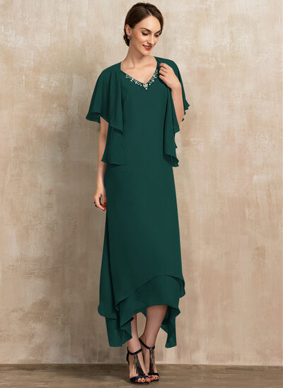 A-Line V-neck Ankle-Length Chiffon Cocktail Dress With Beading
