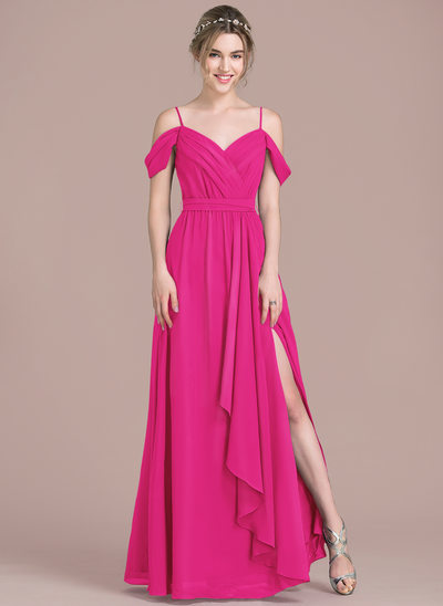 A-Line/Princess V-neck Floor-Length Chiffon Prom Dresses With Bow(s) Split Front Cascading Ruffles