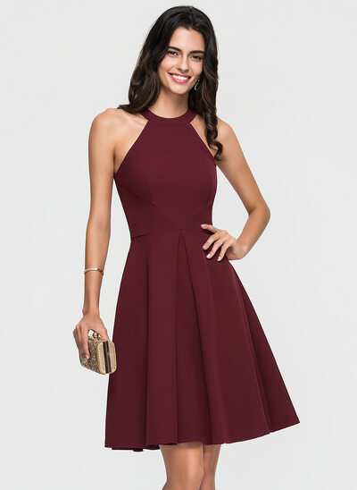 A-Line Scoop Neck Knee-Length Satin Cocktail Dress With Ruffle