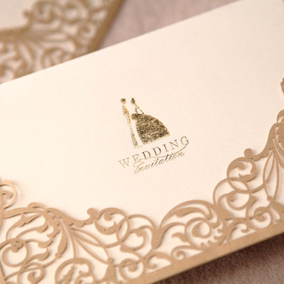 Bride & Groom Stil Wrap & Pocket Invitation Cards (Sett Av 50)