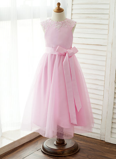 A-Line/Princess Tea-length Flower Girl Dress - Satin/Tulle/Lace Sleeveless Scoop Neck With Lace/Sash/Appliques