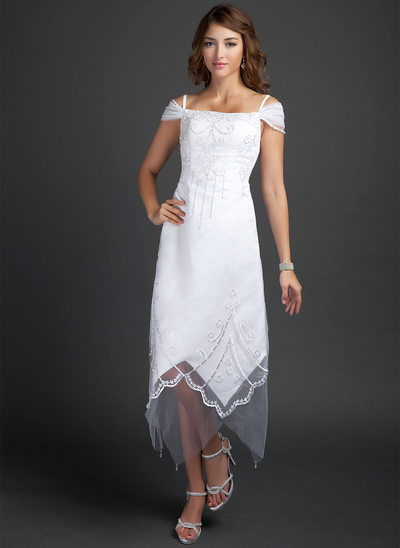 A-Line/Princess Off-the-Shoulder Tea-Length Satin Wedding Dress With Beading