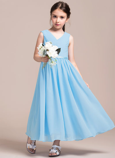 A-Line V-neck Ankle-Length Chiffon Junior Bridesmaid Dress With Ruffle