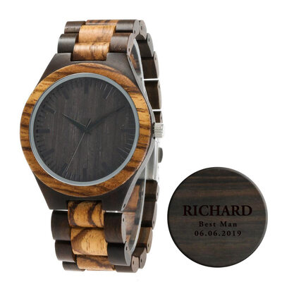 Groomsmen Gifts - Personalized Mens Custom Engraved Ebony Zebra Wood Watches