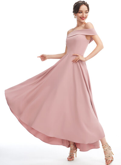 A-Line Off-the-Shoulder Asymmetrical Bridesmaid Dress