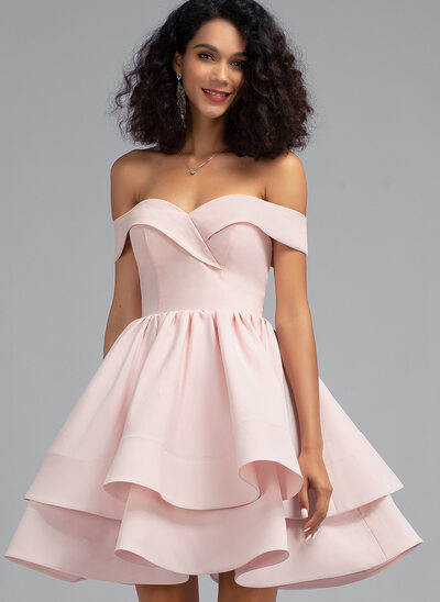 A-Line Off-the-Shoulder Short/Mini Stretch Crepe Homecoming Dress With Cascading Ruffles