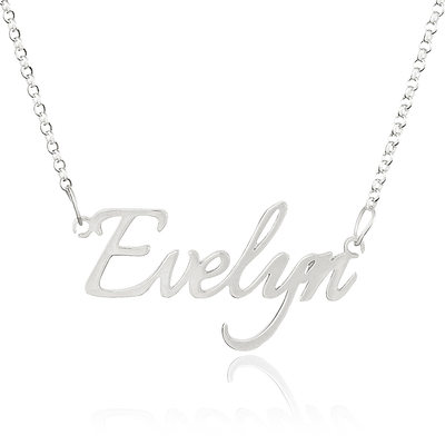 Custom Sterling Silver Nameplate Name Necklace