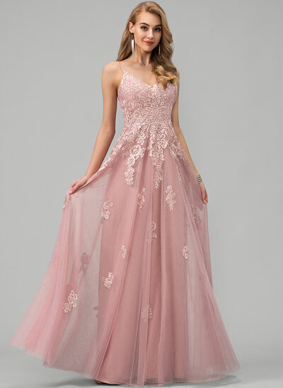 A-Line V-neck Floor-Length Tulle Wedding Dress With Lace
