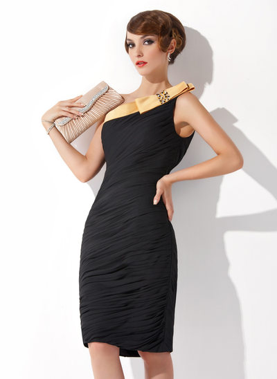 Sheath/Column One-Shoulder Knee-Length Chiffon Cocktail Dress With Ruffle Sash Beading Bow(s)