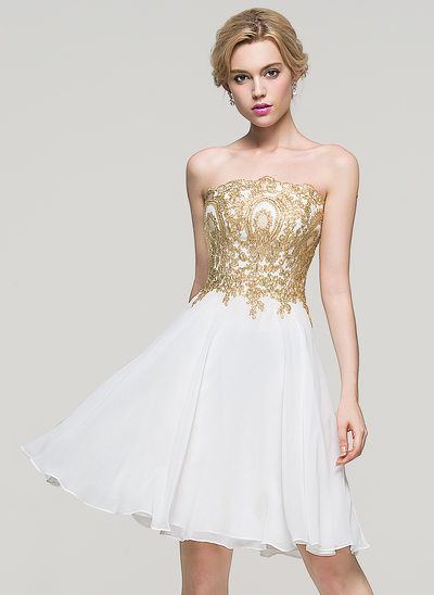 A-Line Strapless Knee-Length Chiffon Prom Dresses