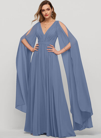 A-Line V-neck Floor-Length Chiffon Evening Dress With Ruffle