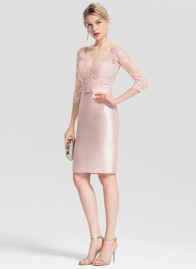Sheath/Column V-neck Knee-Length Satin Cocktail Dress With Appliques Lace Bow(s)