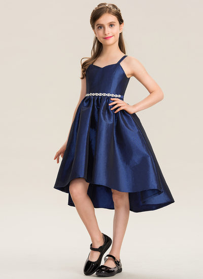 A-Line Asymmetrical Flower Girl Dress - Taffeta Sleeveless Sweetheart With Beading/Bow(s)