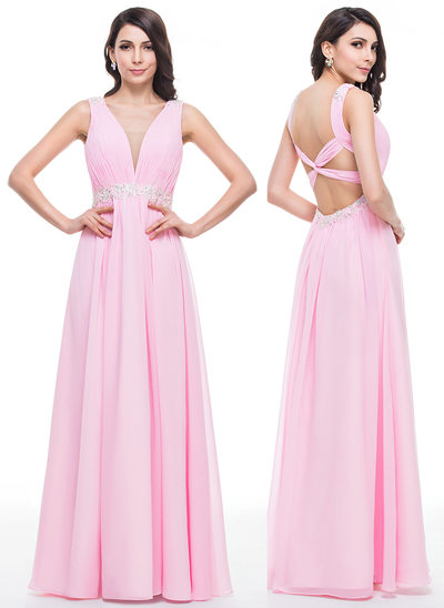 A-Line/Princess V-neck Floor-Length Chiffon Prom Dresses With Ruffle Beading Appliques Lace Sequins