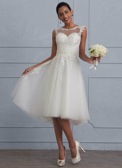 A-Line Scoop Neck Asymmetrical Tulle Wedding Dress With Ruffle