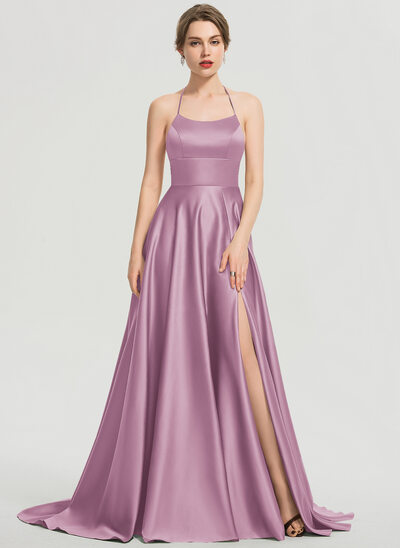 A-Line Scoop Neck Sweep Train Satin Prom Dresses With Split Front