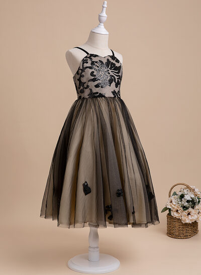A-Line Tea-length Flower Girl Dress - Sleeveless Sweetheart With Sequins