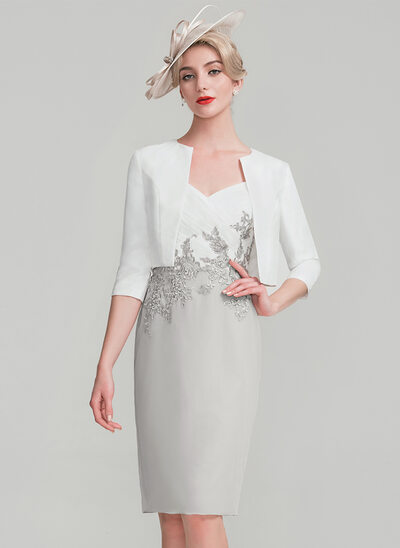 Sheath/Column Knee-Length Chiffon Lace Mother of the Bride Dress With Ruffle