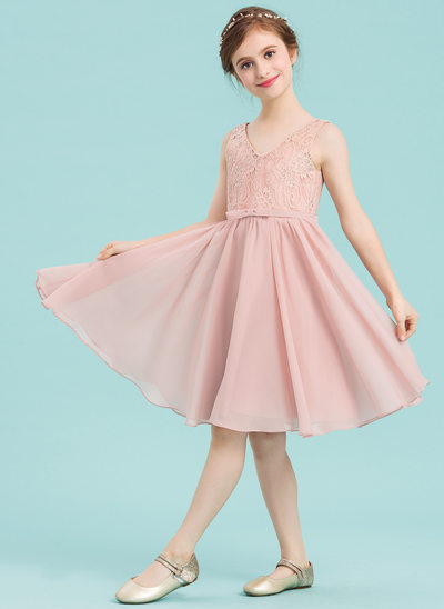 A-Line V-neck Knee-Length Chiffon Junior Bridesmaid Dress With Bow(s)
