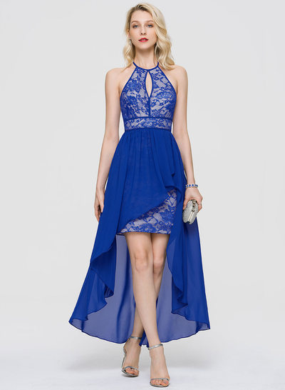 Sheath/Column Scoop Neck Asymmetrical Chiffon Homecoming Dress