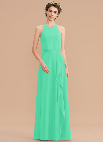A-Line Scoop Neck Floor-Length Chiffon Bridesmaid Dress With Cascading Ruffles