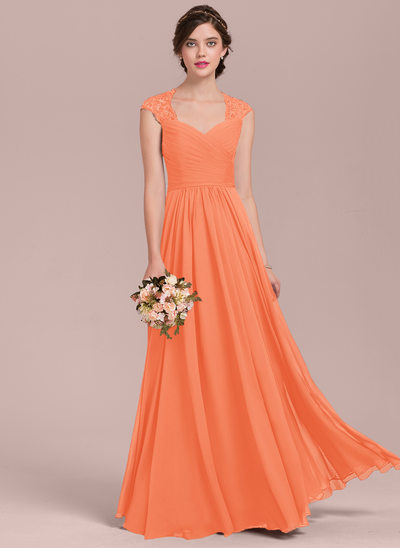 A-Line/Princess Sweetheart Floor-Length Chiffon Lace Bridesmaid Dress With Ruffle Beading