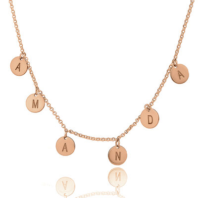 Christmas Gifts For Her - Custom 18k Rose Gold Plated Silver Letter Initial Necklace Circle Necklace