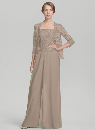 Square Neckline Floor-Length Chiffon Lace Mother of the Bride Dress