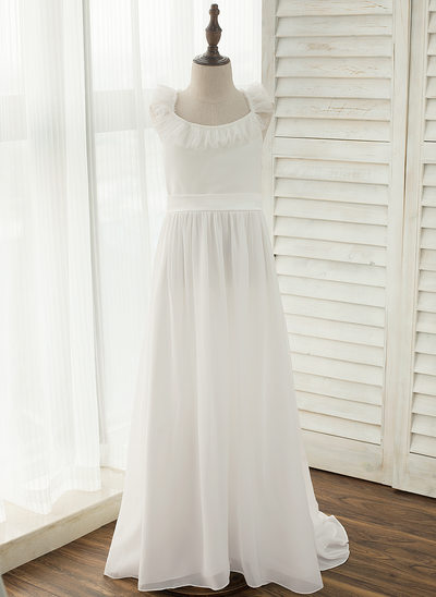 A-Line/Princess Court Train Flower Girl Dress - Chiffon Sleeveless Straps With Bow(s)