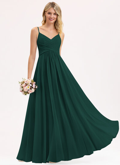 A-Line V-neck Floor-Length Chiffon Bridesmaid Dress With Ruffle
