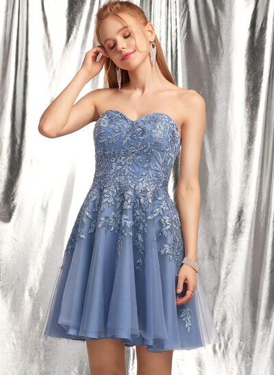 A-Line Sweetheart Short/Mini Tulle Homecoming Dress With Beading Sequins