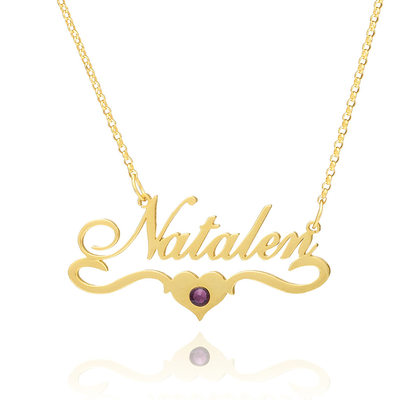 Christmas Gifts For Her - Custom 18k Gold Plated Silver Name Birthstone Necklace Nameplate With Kids Names