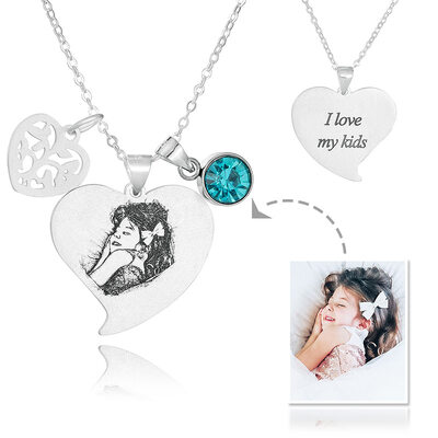 Custom Sterling Silver Heart Black And White Photo Engraved Heart Necklace Birthstone Necklace Engraved Necklace Photo Necklace With Birthstone Leaf - Birthday Gifts