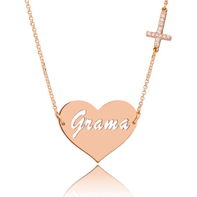 Custom 18k Rose Gold Plated Signature Hollow Carved Name Necklace Heart Necklace - Christmas Gifts