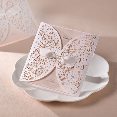 Personalized Artistic Style Wrap & Pocket Invitation Cards With Bows (Set of 20)