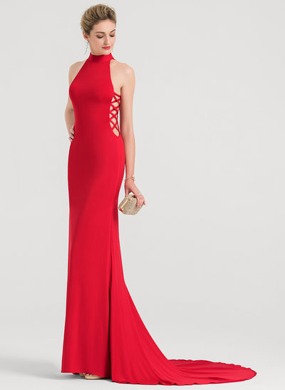 Trumpet/Mermaid High Neck Court Train Jersey Evening Dress