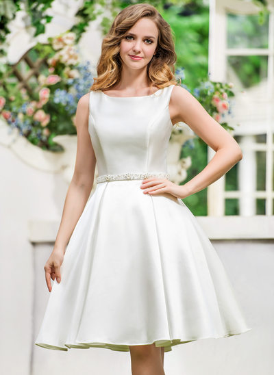 A-Line/Princess Scoop Neck Knee-Length Satin Wedding Dress With Beading Sequins